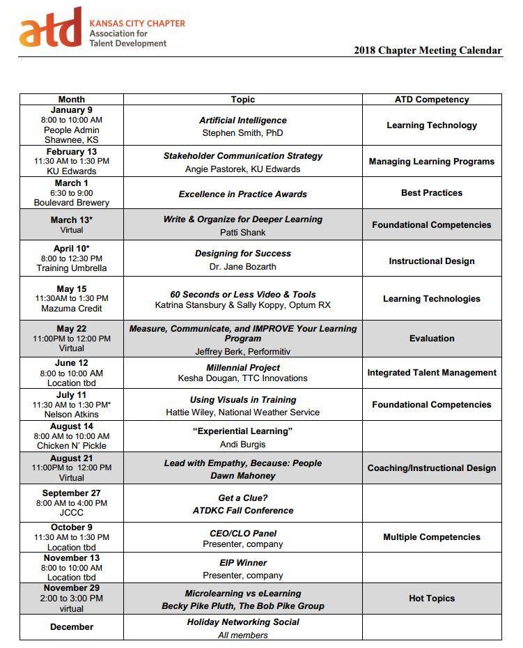 atd kansas city 2018 event schedule